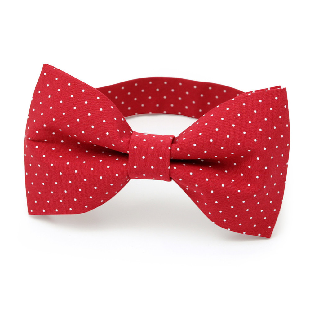 Men's red pre-tied bow tie with dots 10059