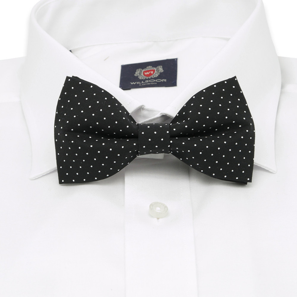 Men's black pre-tied bow tie with white dots. 10060