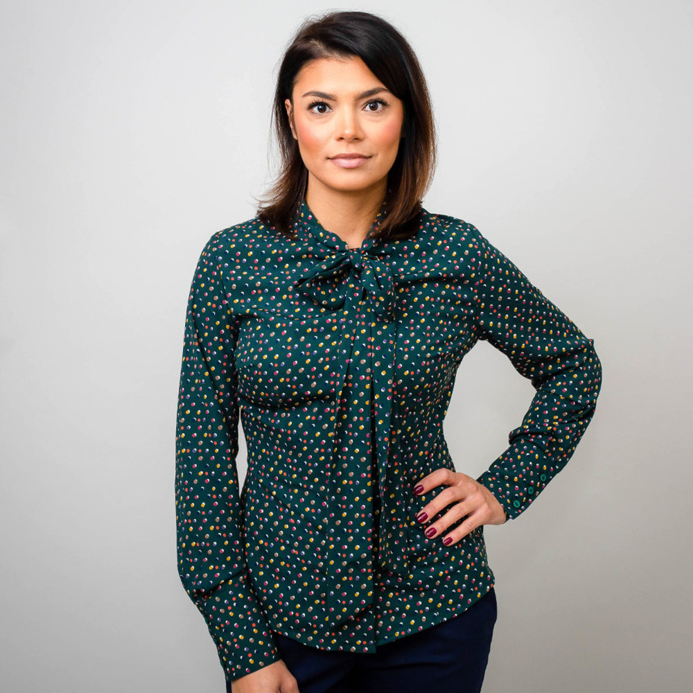 Women's shirt in dark green with a bow 10175