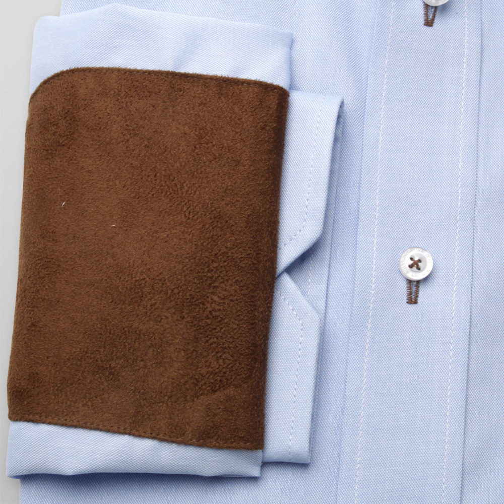 Classic shirt with brown elements on elbows (all sizes) 10243