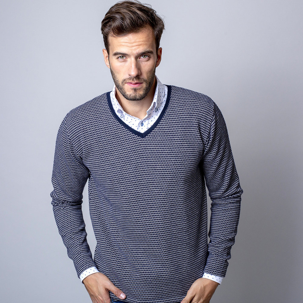 Men's pullover with fine pattern 10280