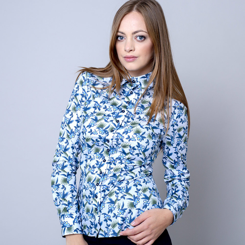 Women's shirt with blue floral pattern 10382