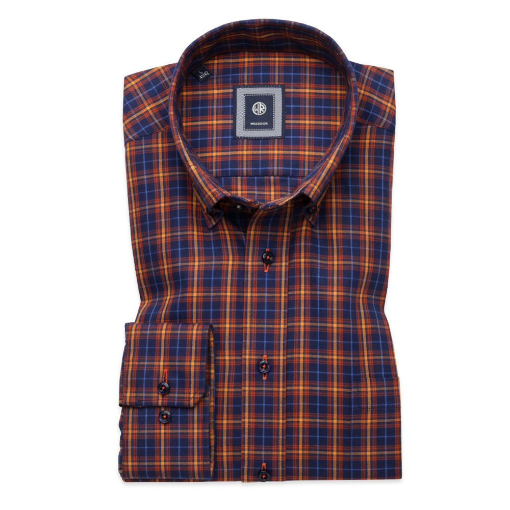 Slim Fit shirt with yellow-orange check (height 176-182) 10440