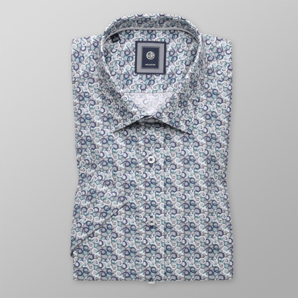 Slim Fit shirt with colorful geometric pattern (height 176-182) 10490