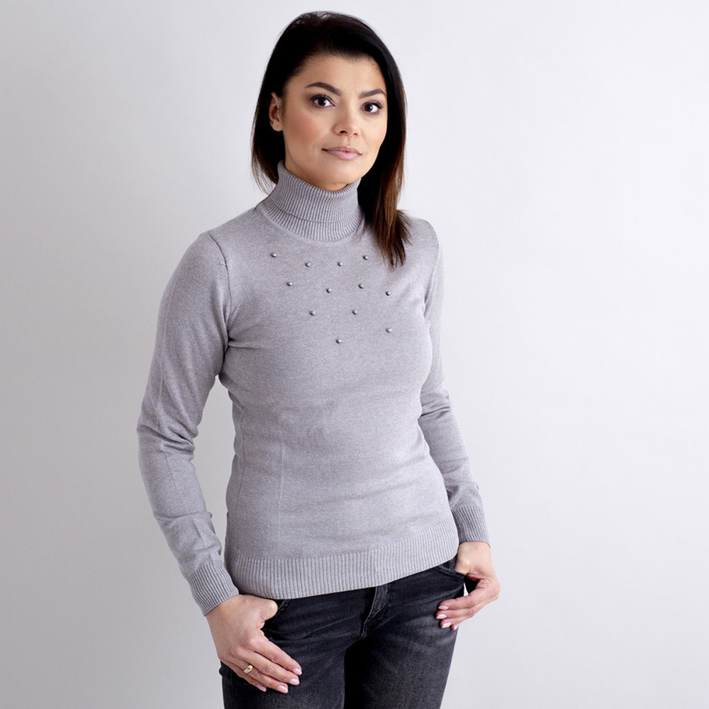 Women's turtleneck pullover in grey with decoration 10519