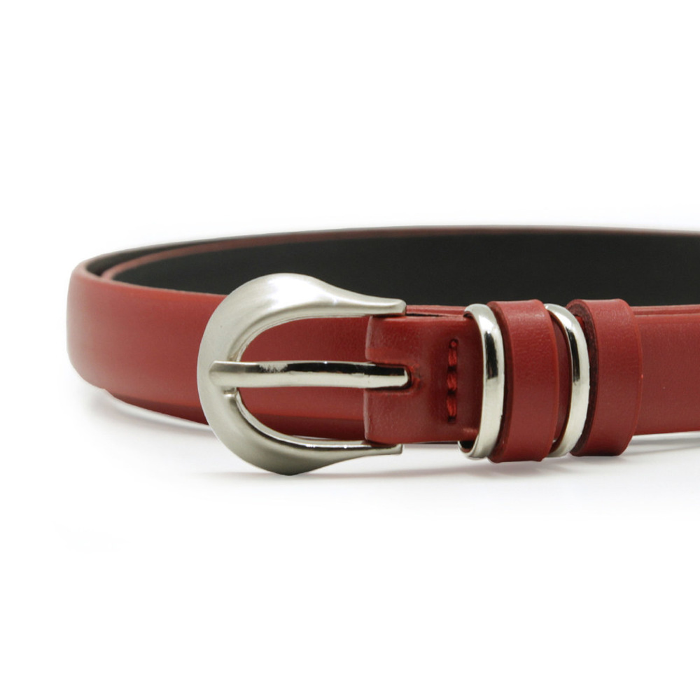 Women's leather belt in red color 10614