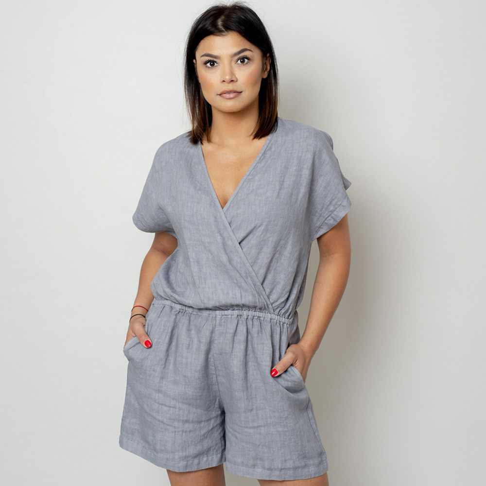 Canvas short jumpsuit in grey color 10783