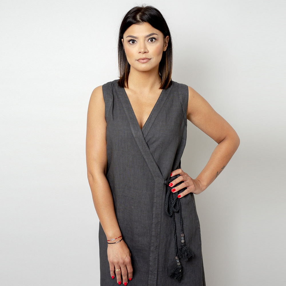 Long dress in anthracite color 10784