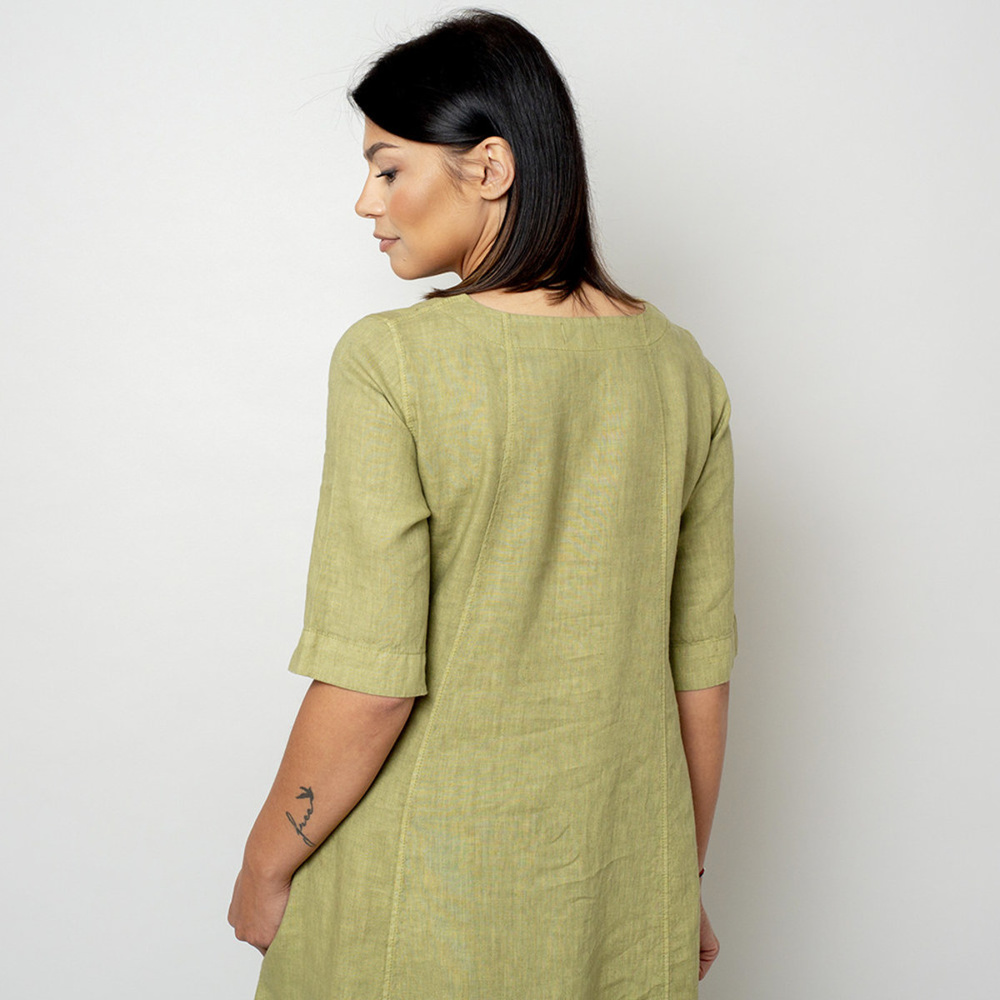 Long canvas dress in olive color 10791