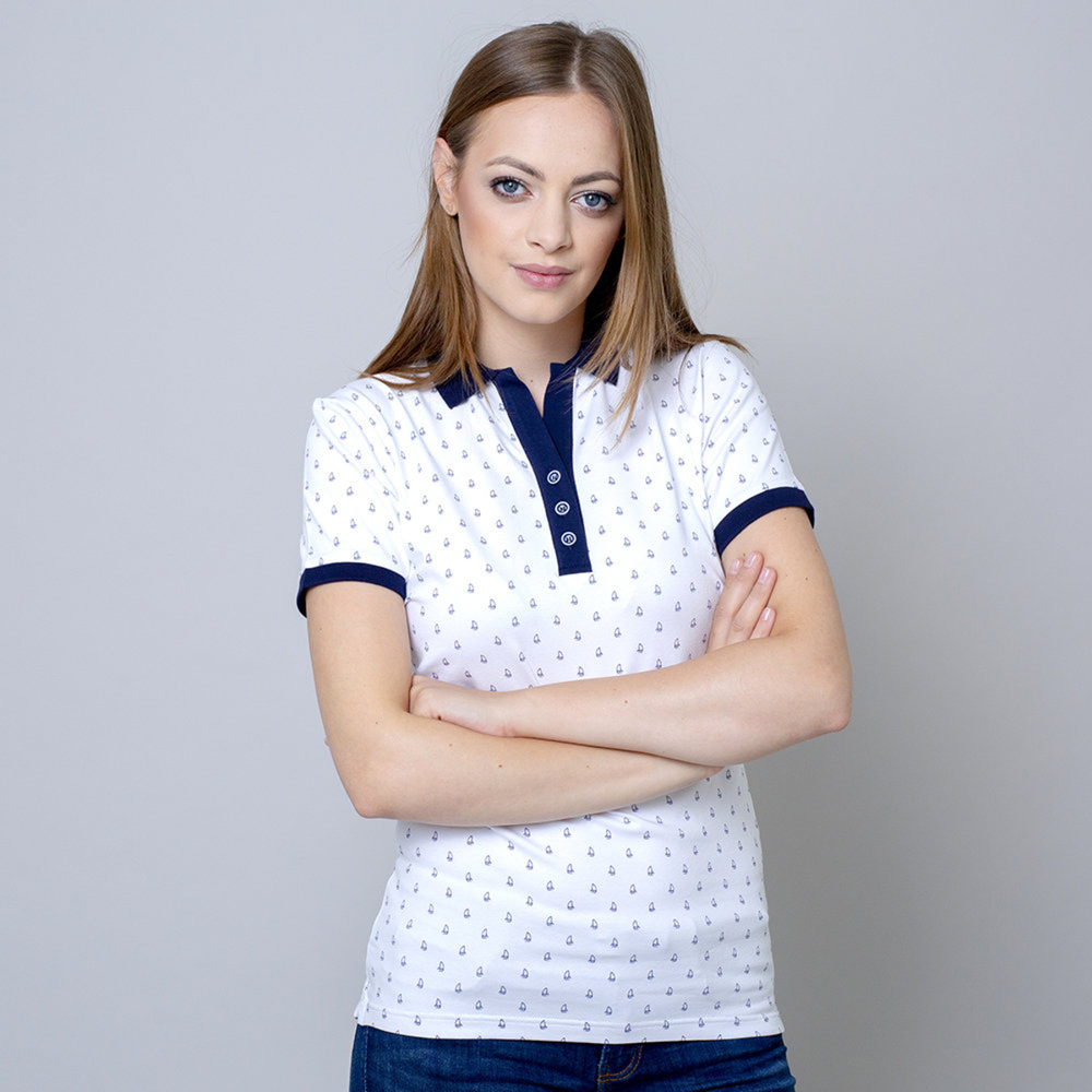 Women's polo t-shirt with sailing boat print 10821