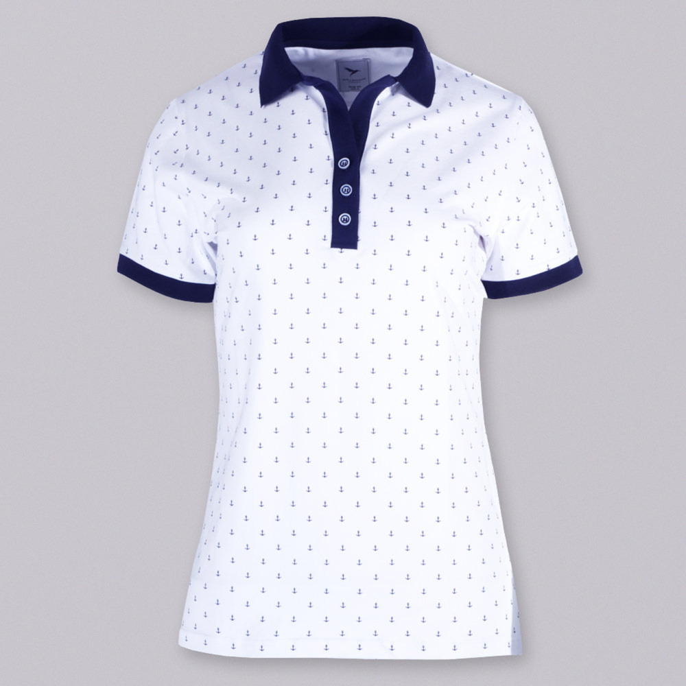 Women's polo shirt with print anchors10822