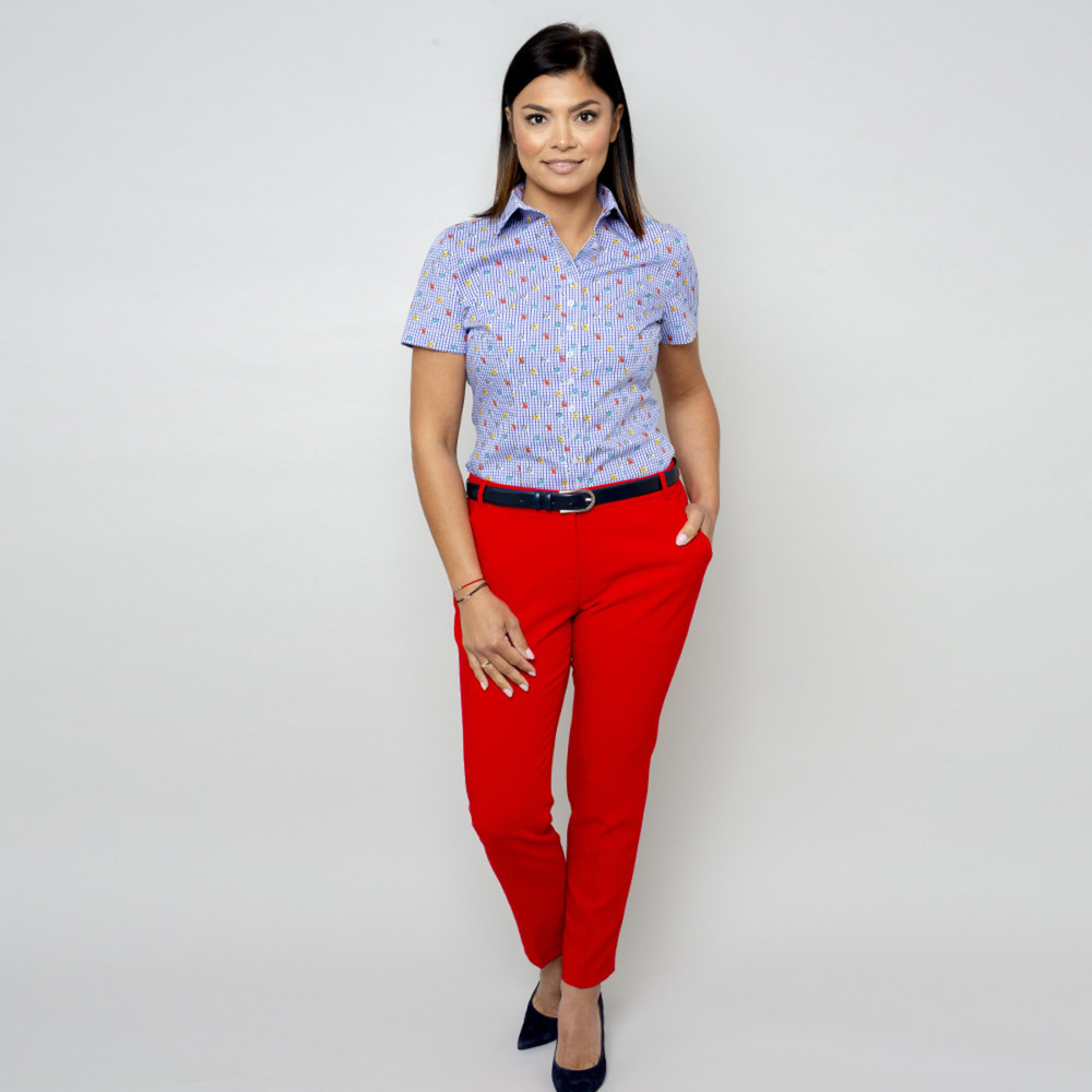 Women's blouse with check and floral pattern 10917