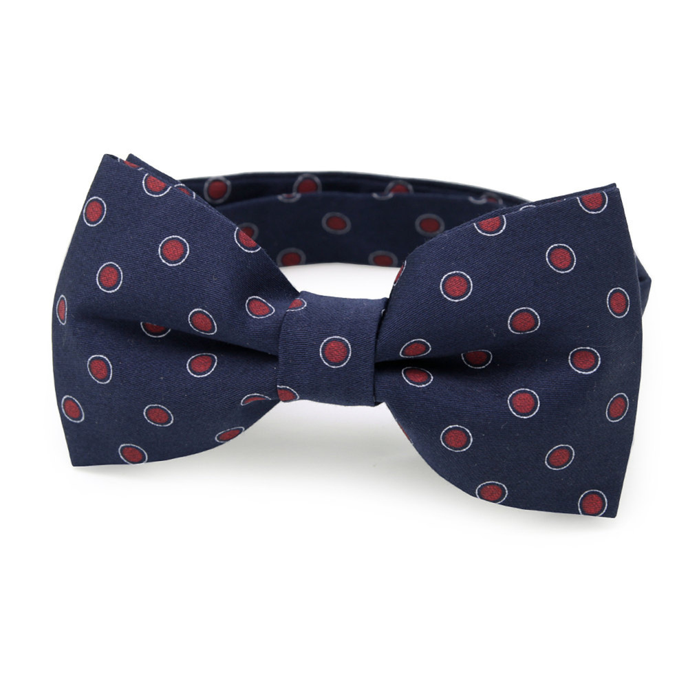 Men's pre-tied bow tie with red dots 10964