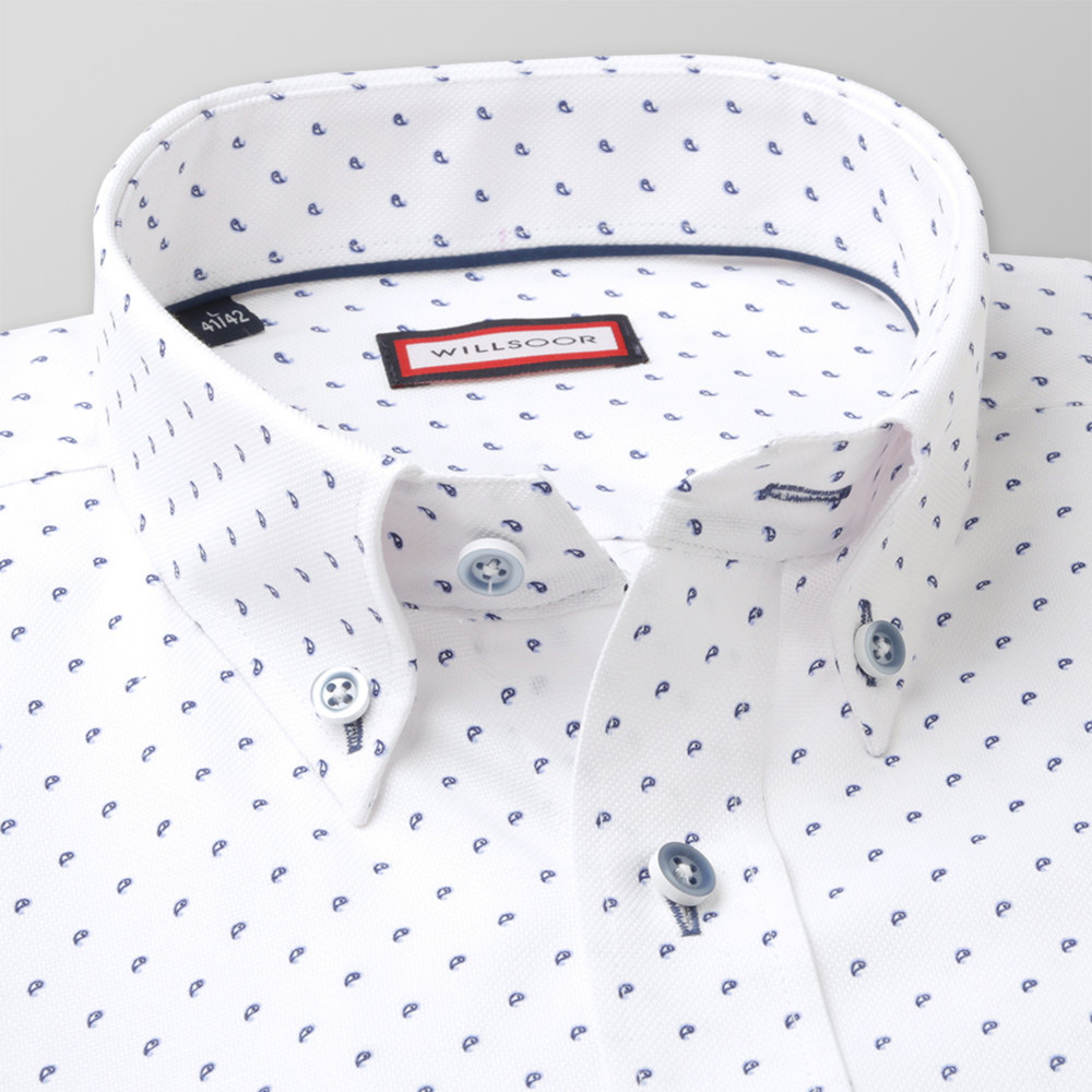 Slim Fit shirt with dark blue pattern (height 176-182 a 188-194) 11008