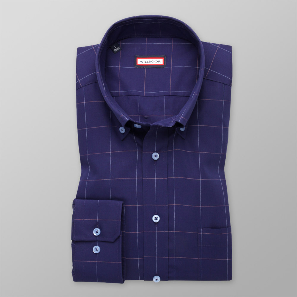 Classic shirt with fine check pattern (height 176-182) 11082