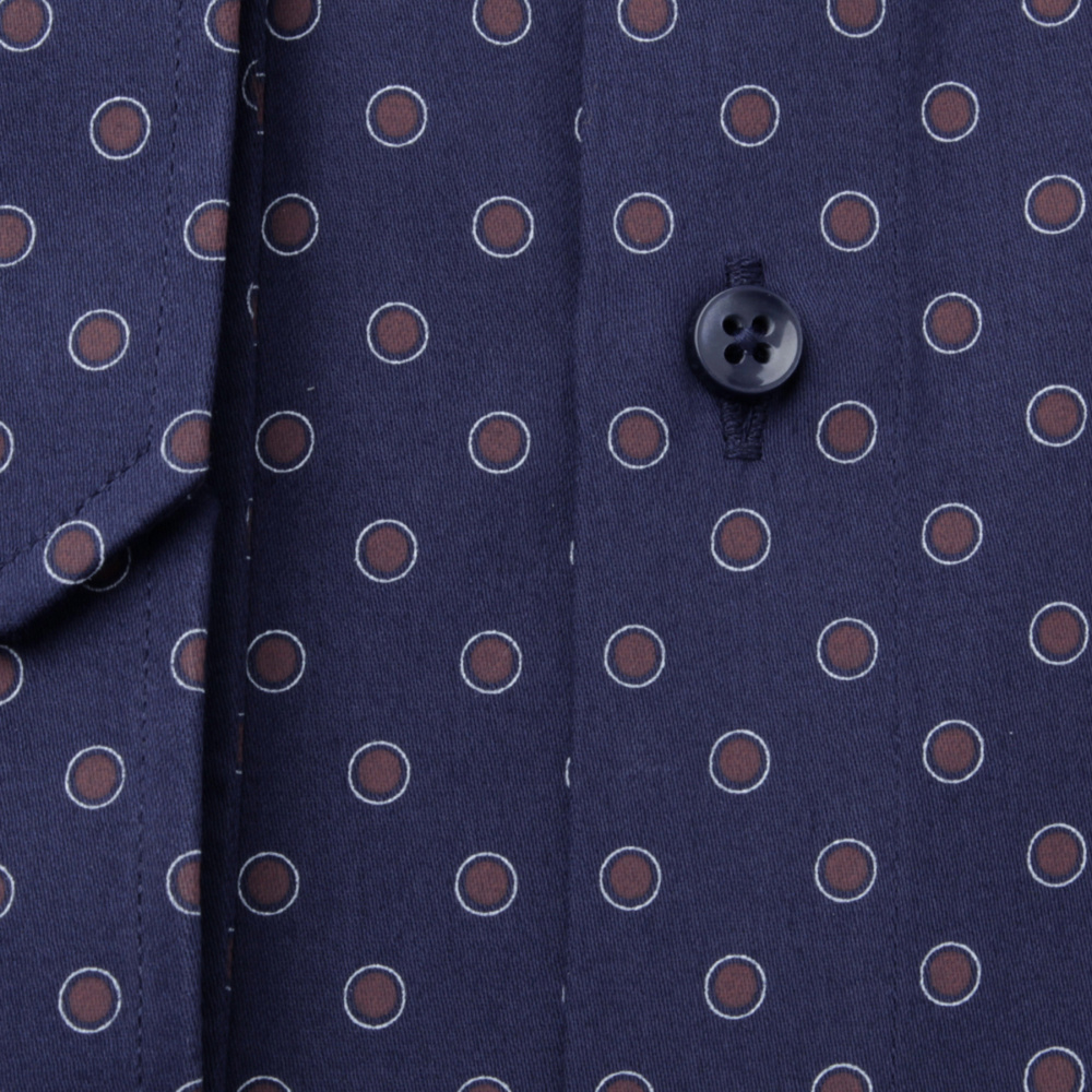 Classic shirt with brown polka dot pattern (height 176-182) 11084