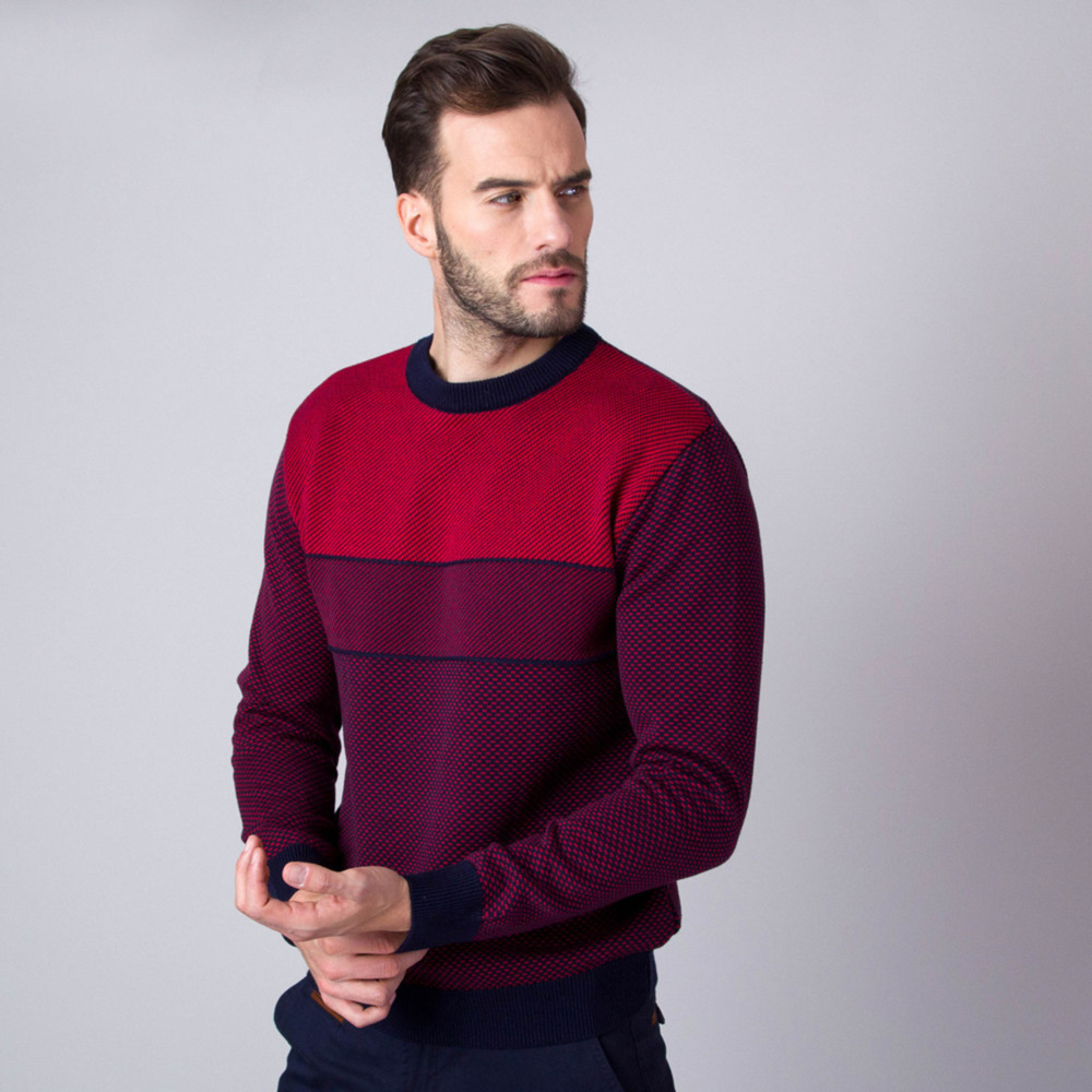 Men's jumper with stripes in red color 11089