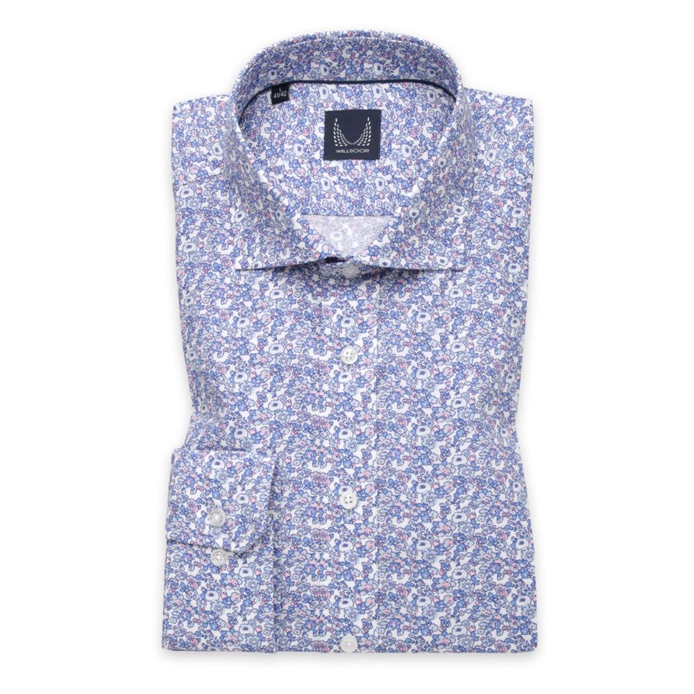 Men's Slim Fit shirt with light blue floral pattern 11208