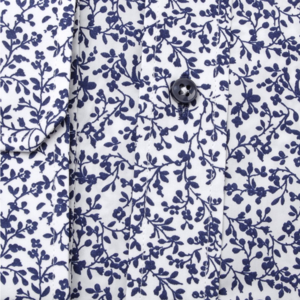 Men's Classic shirt in dark blue with floral pattern 11211