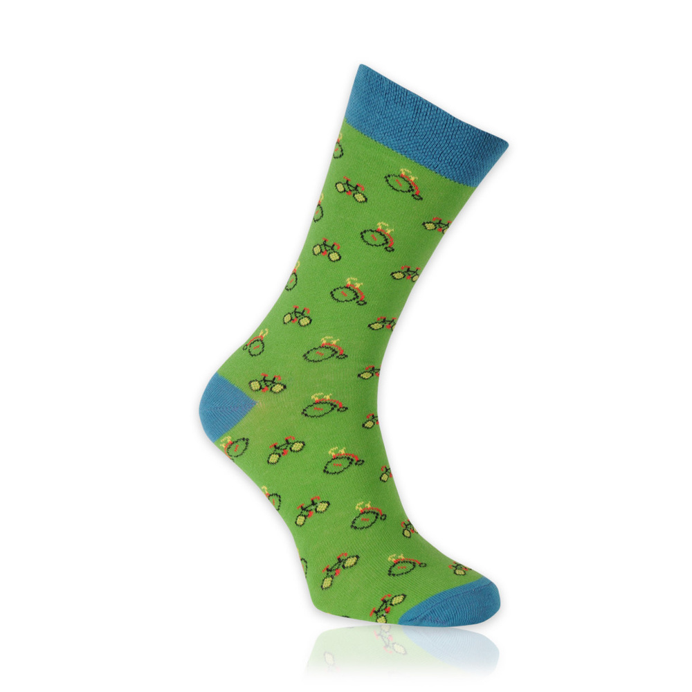 Men's socks in green with bicycles pattern11263