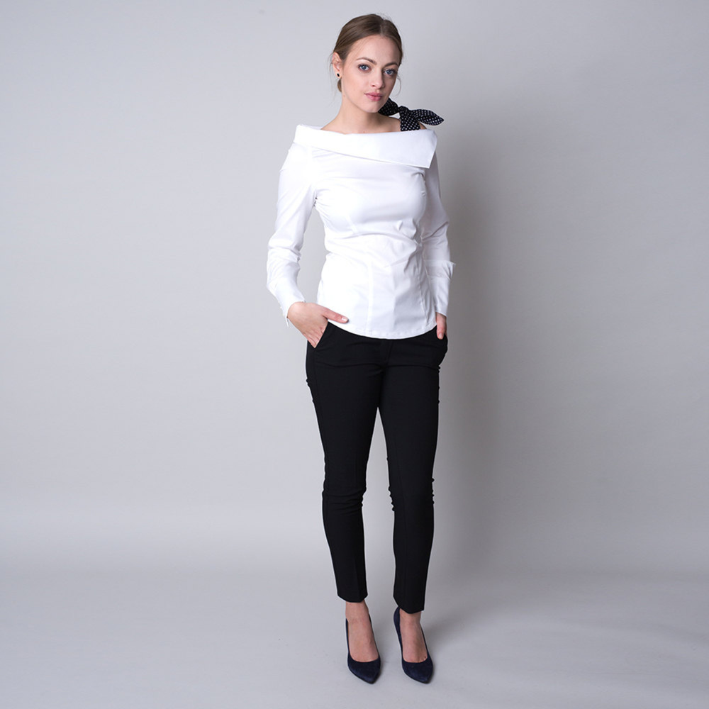 Women's t-shirt in white color with a polka dot bow 11322