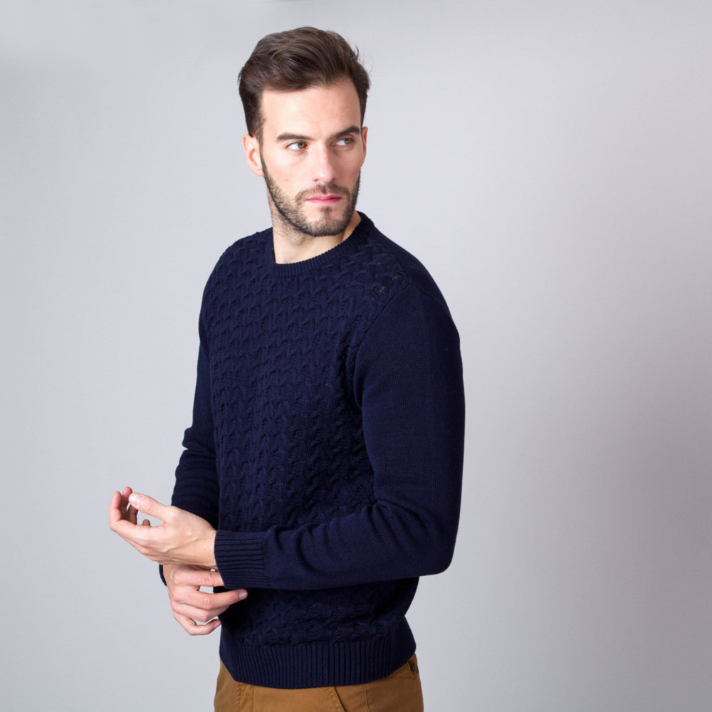 Men's jumper in dark blue with braiding 11326