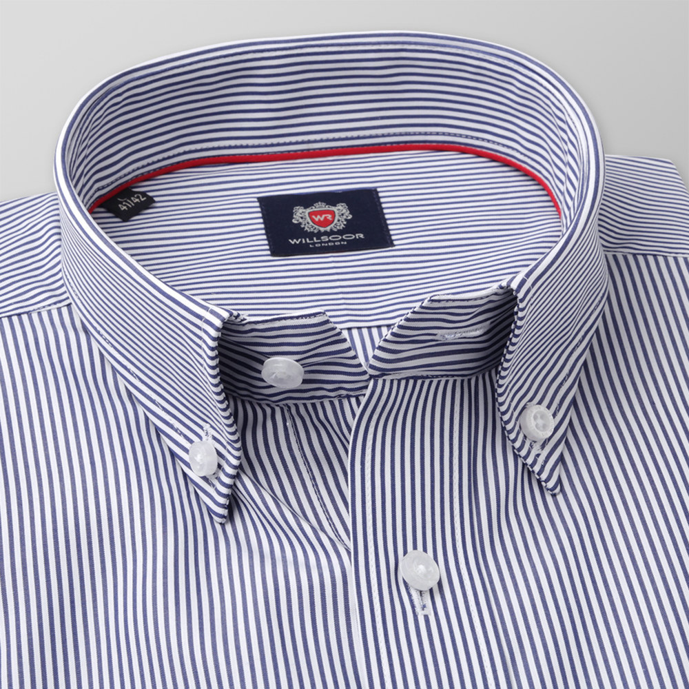 Men's slim fit shirt with dark blue striped pattern  11332
