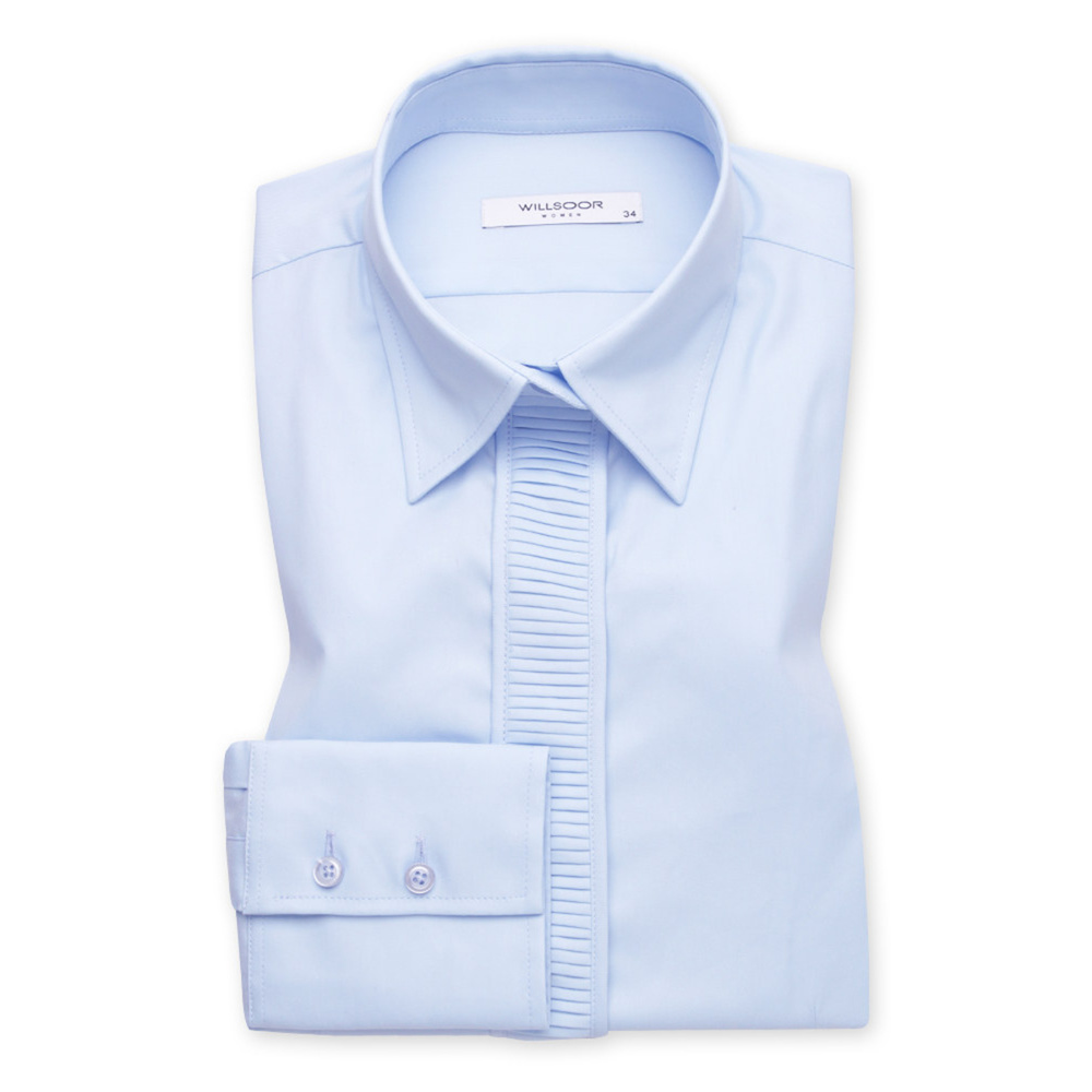 Women's shirt with pleating in light blue 11345