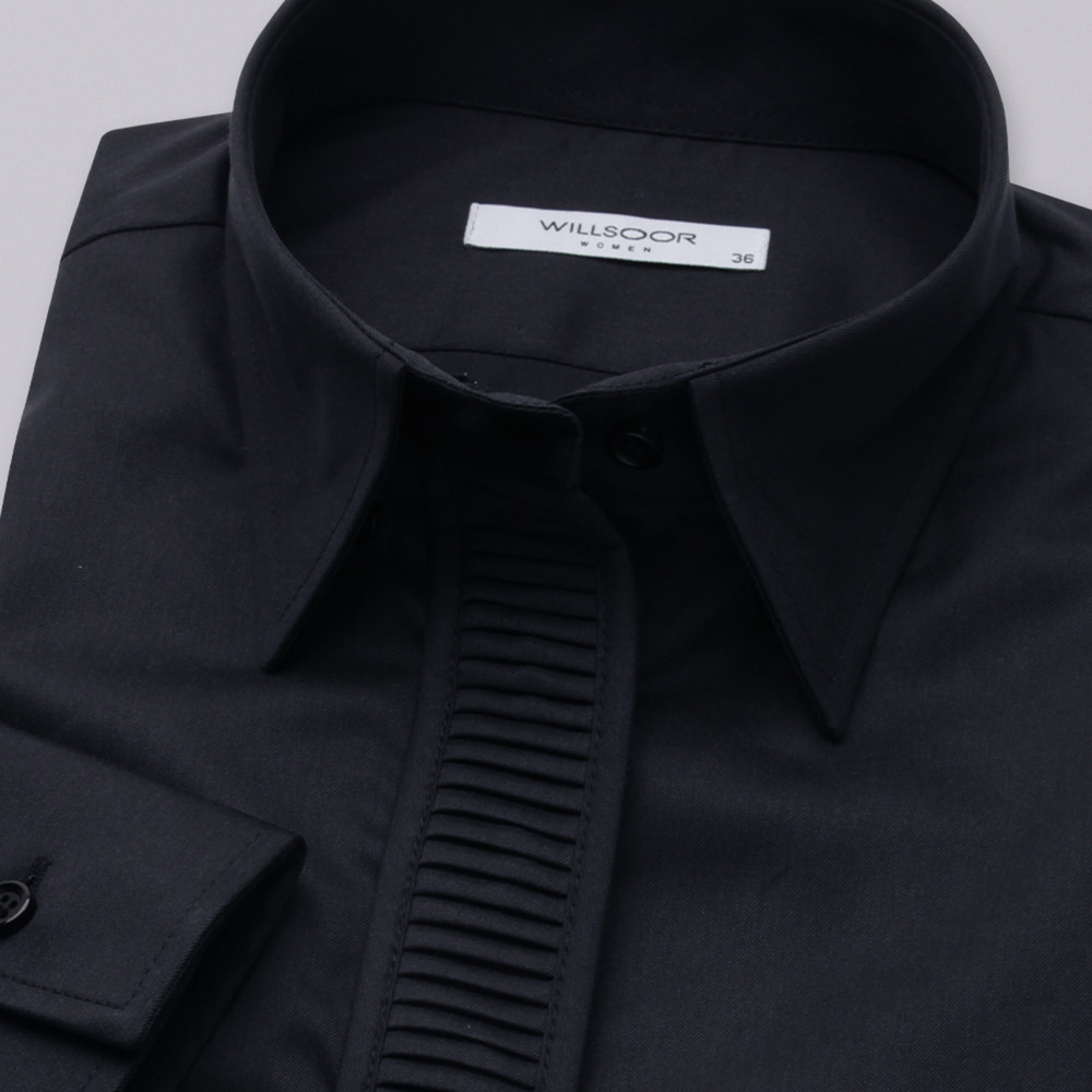 Women's shirt with pleating in black 11355