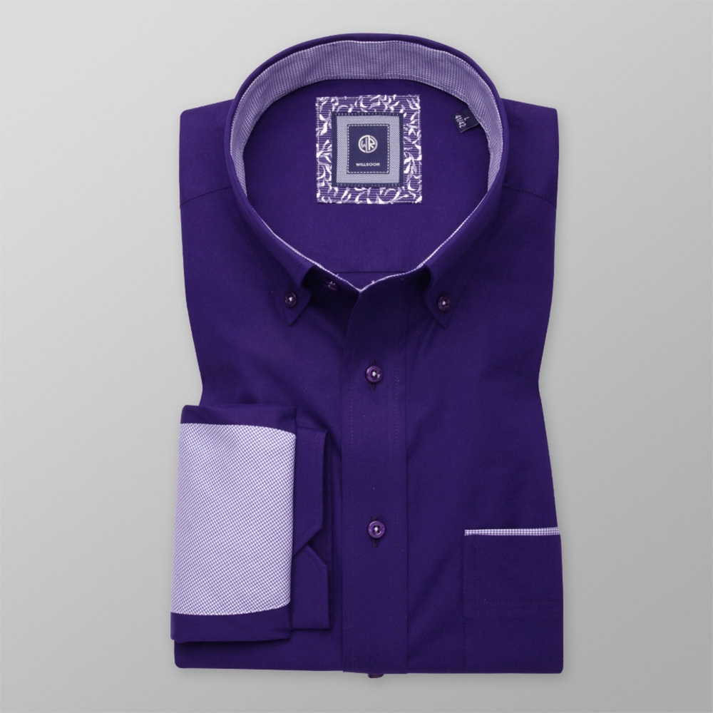 Classic men's shirt in dark purple with patterned elements 11368