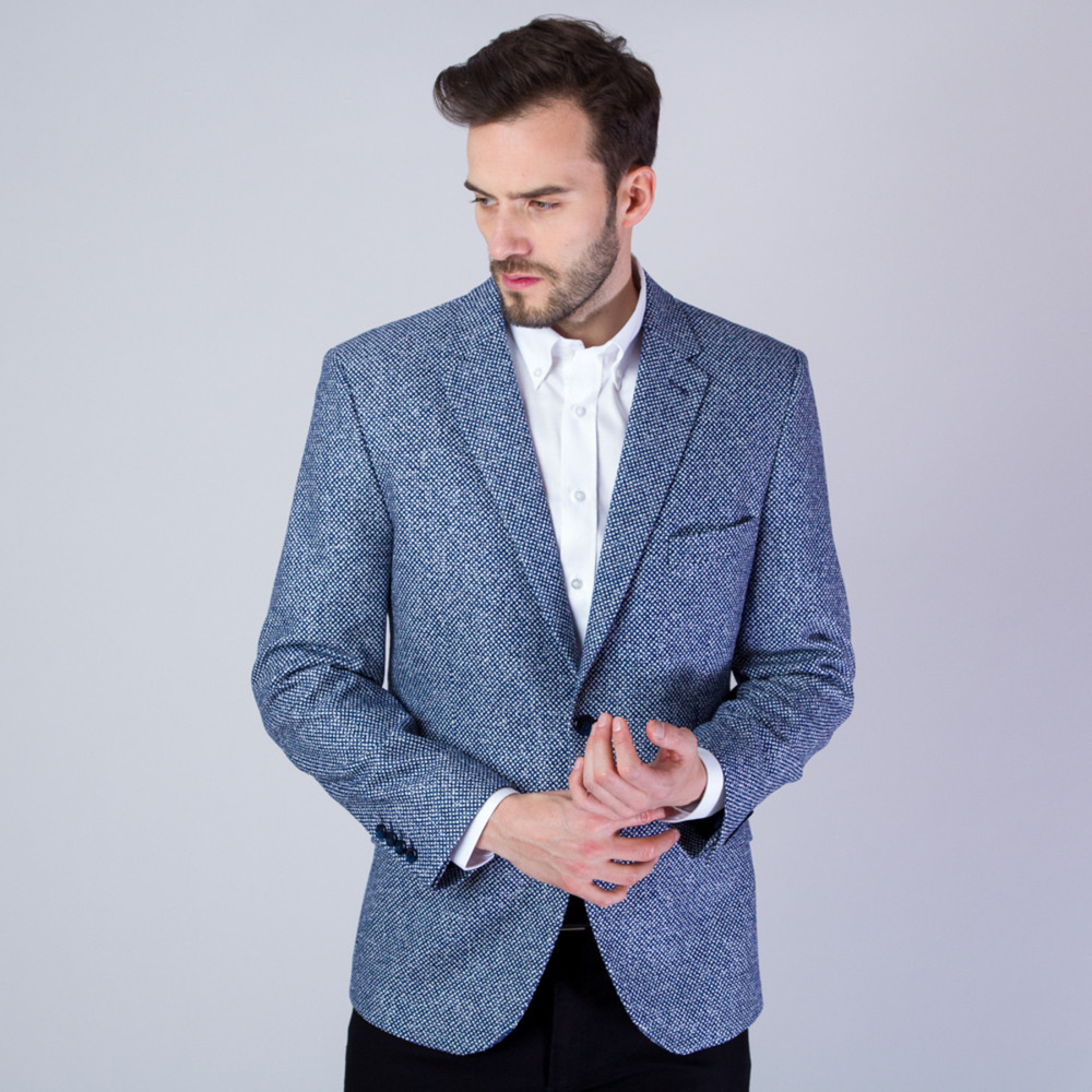 Men's suit jacket with fine dark blue-white pattern 11533