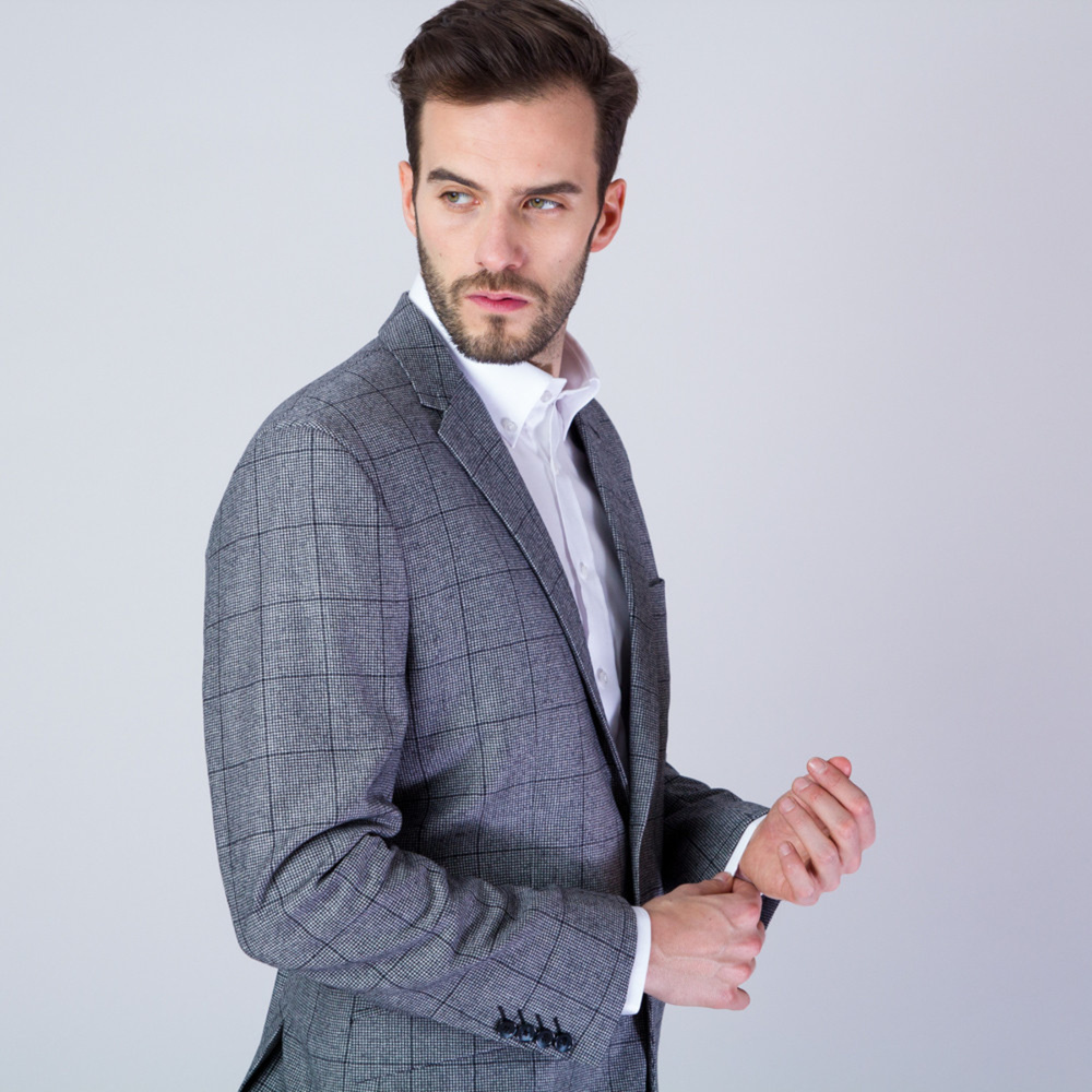 Men suit jacket in grey color with checked pattern 11534