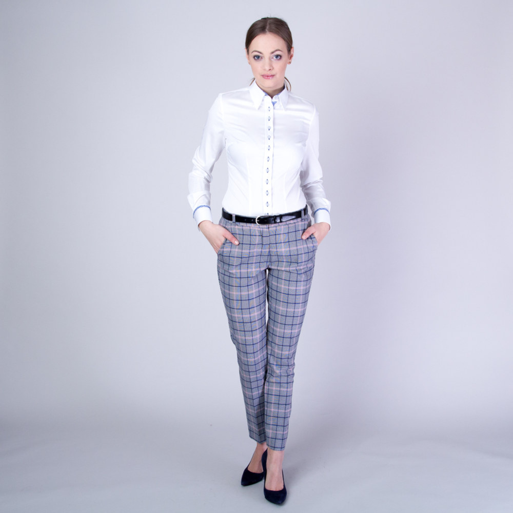 Women's shirt with light blue contrast elements 11582