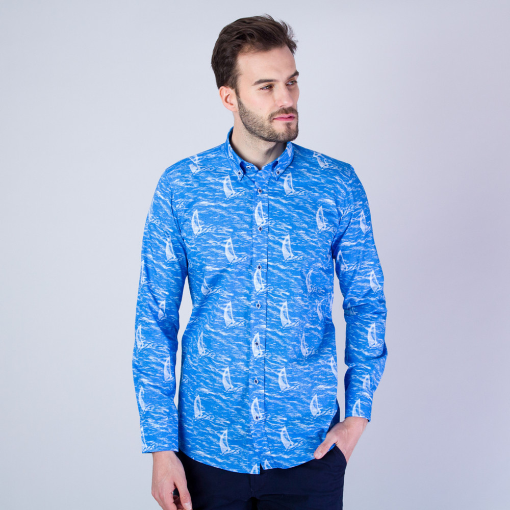 Men's Slim Fit shirt with waves and sailing boats print 11590