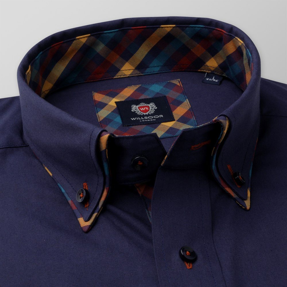 Men's Slim Fit shirt in dark blue with contrast elements 11592