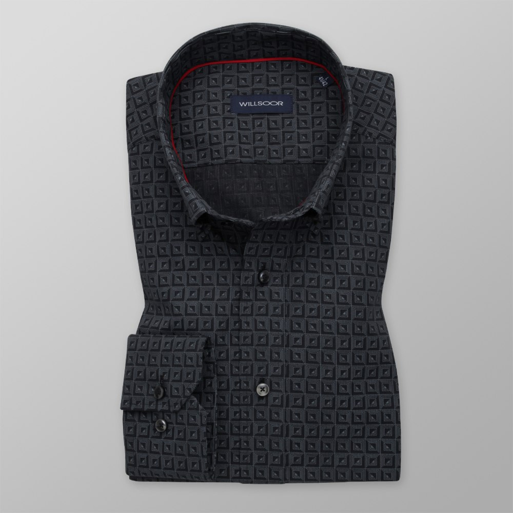 Men's Slim Fit shirt with grey geometric pattern 11596