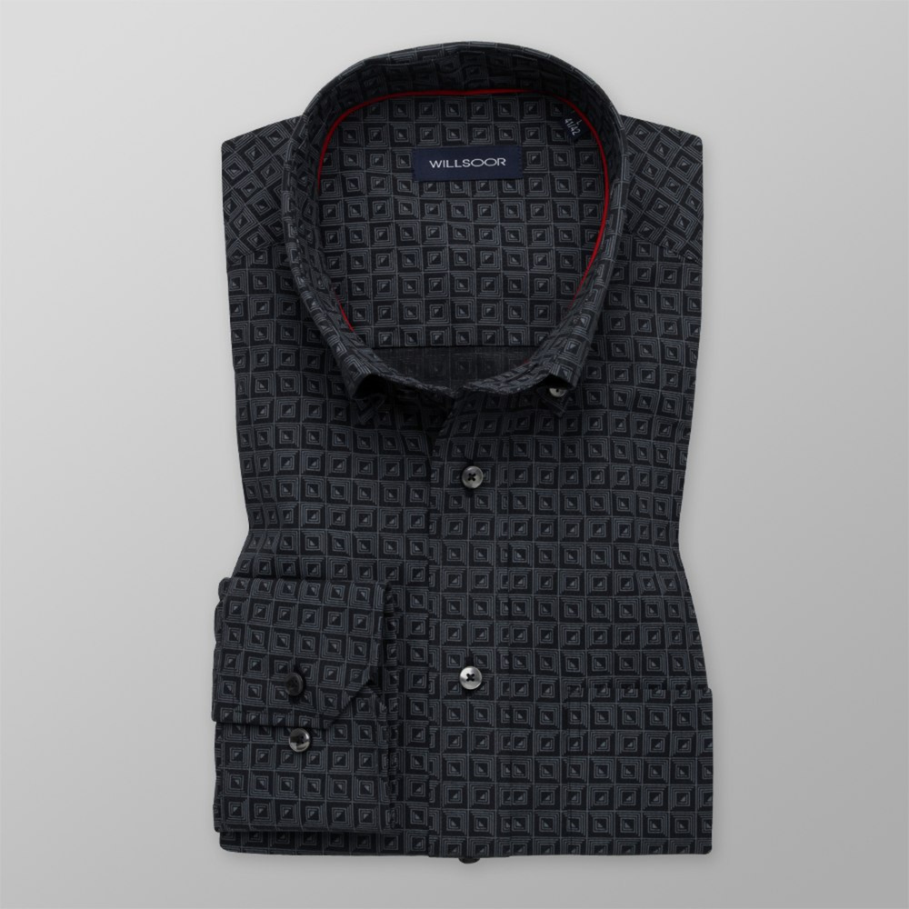 Men's Classic Fit shirt with grey geometric pattern 11597