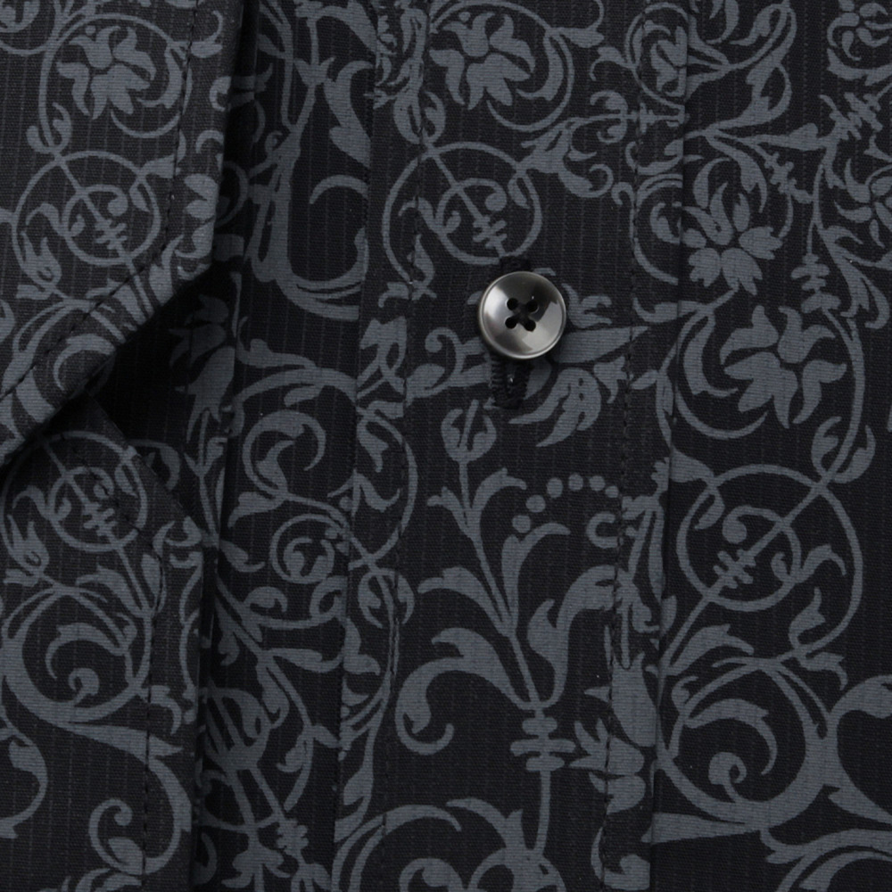Men's Slim Fit shirt with grey floral pattern 11598