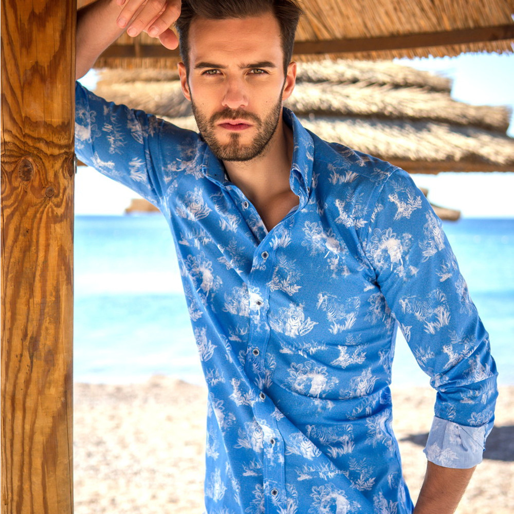 Men's Classic Fit shirt with white animal print 11613