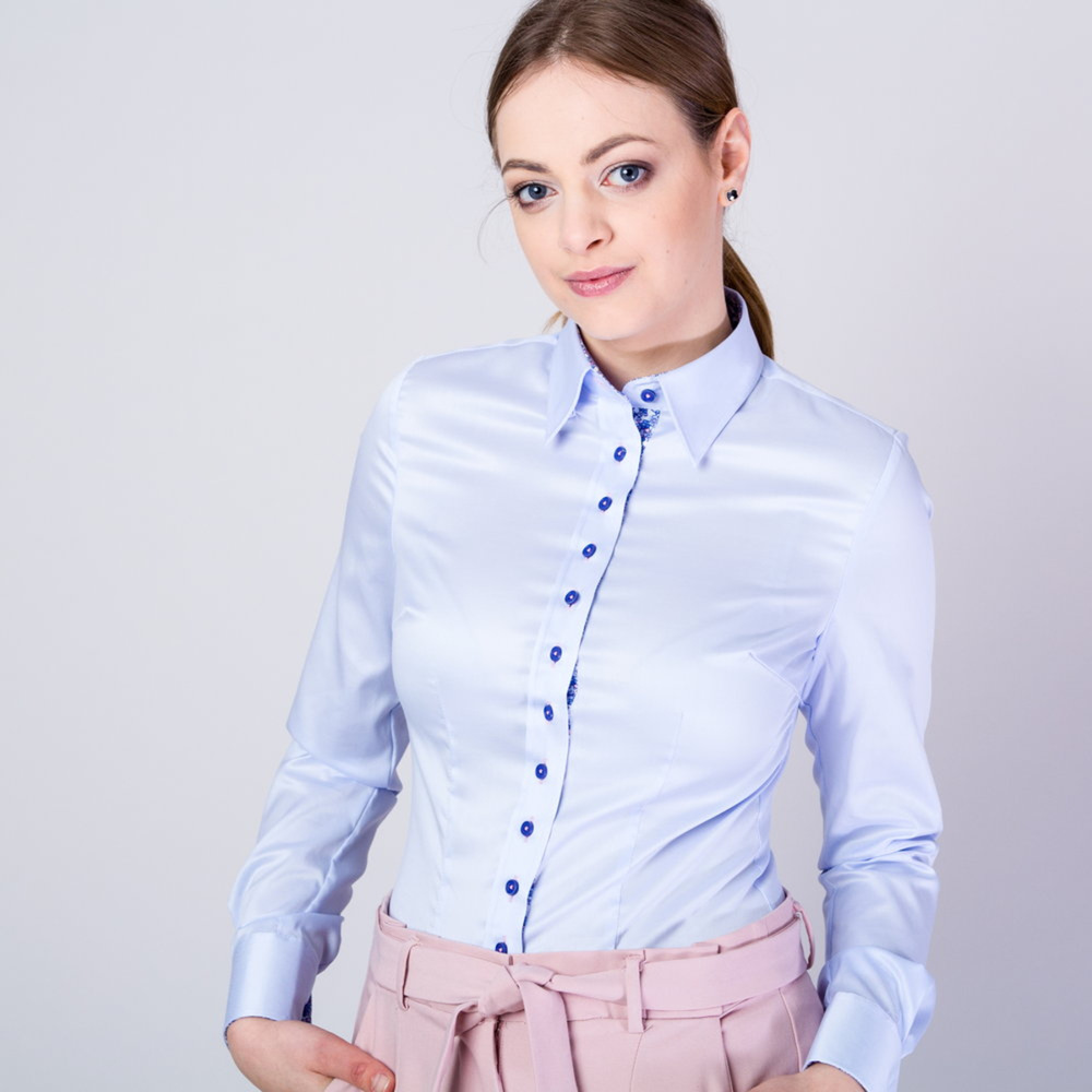 Women's shirt with blue contrast elements 11638