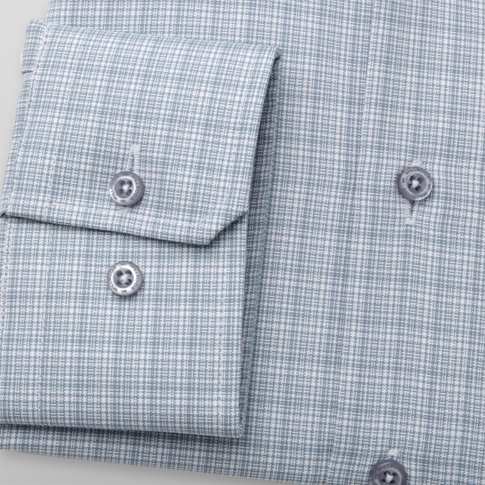 Men's slim fit shirt with grey-white pattern 11692