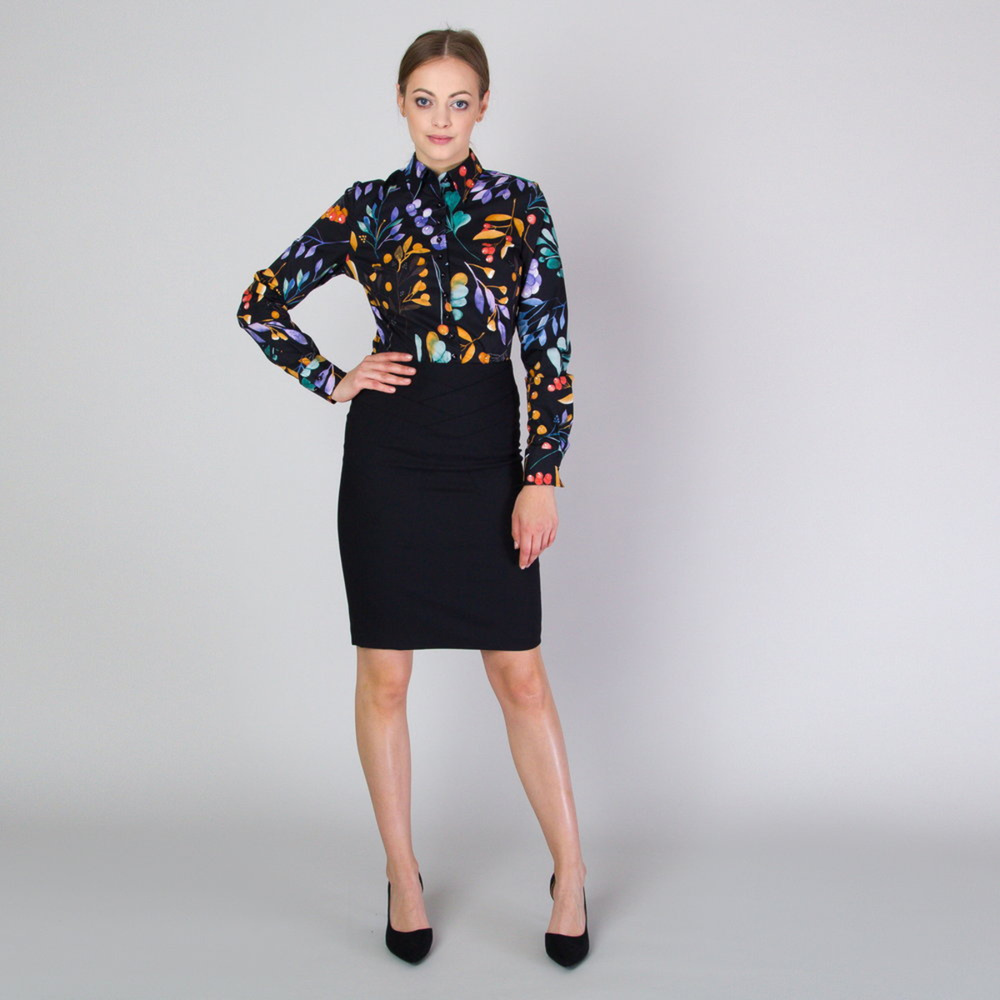 Women's shirt in black color with flowers pattern 11711