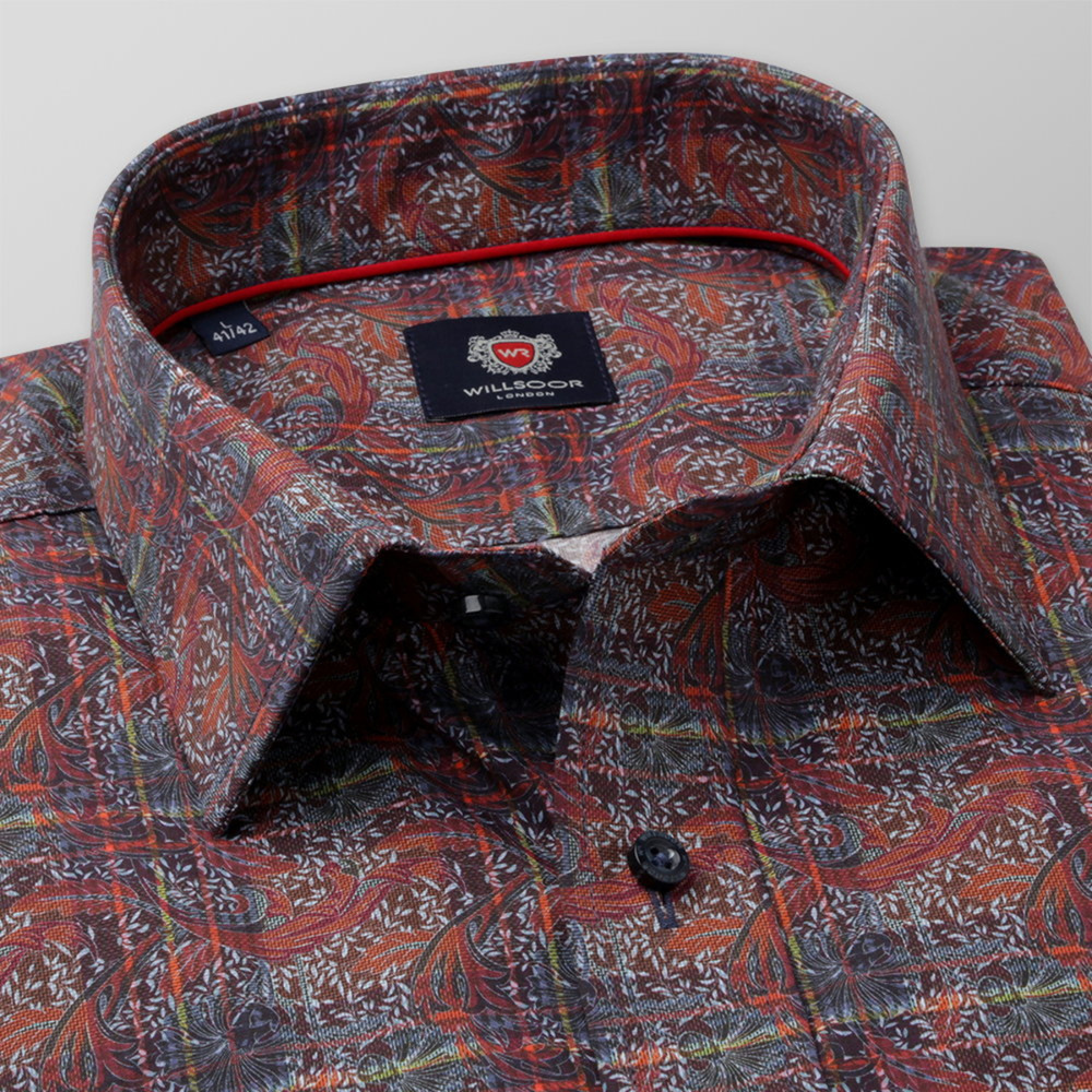 Men's classic fit shirt in brown color with floral pattern 11738