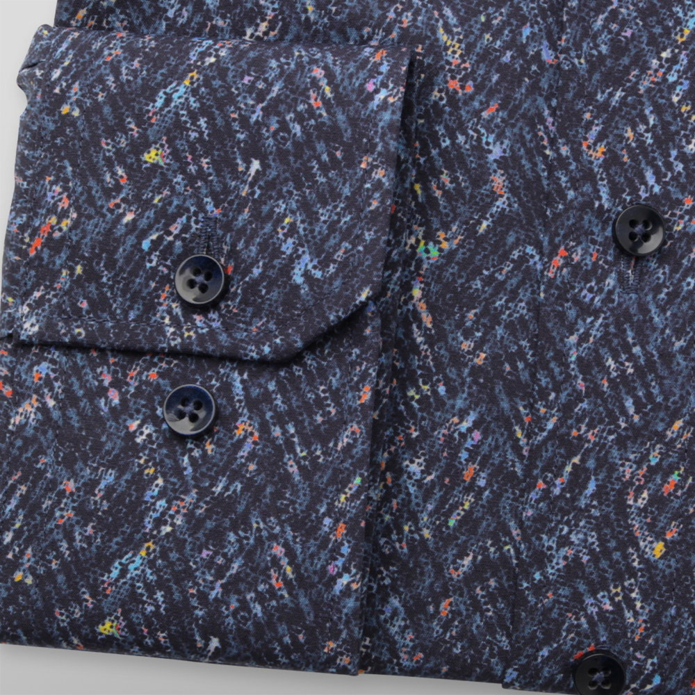 Men's slim fit shirt in dark blue color with colorful pattern 11745