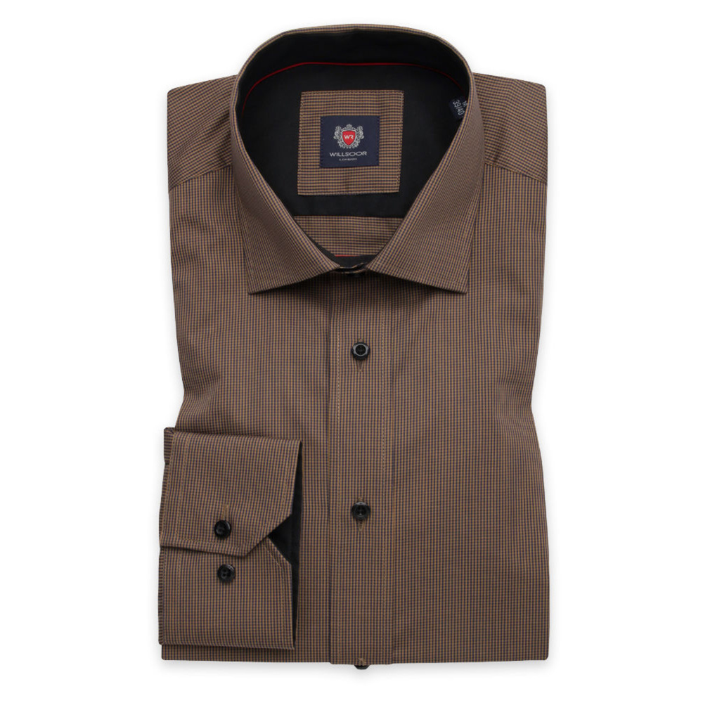Men's slim fit shirt in brown with fine check pattern 11751