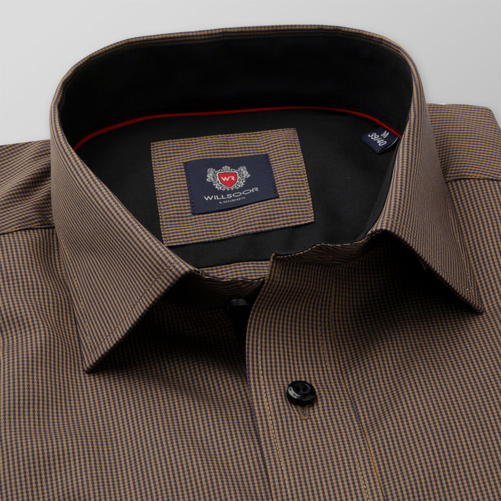 Men's classic shirt in brown color with fine check pattern 11752
