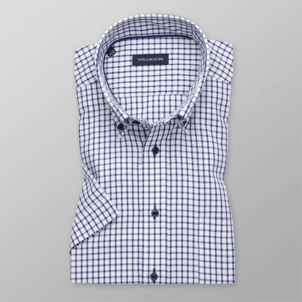 Men's Slim Fit shirt with dark blue check pattern 11762