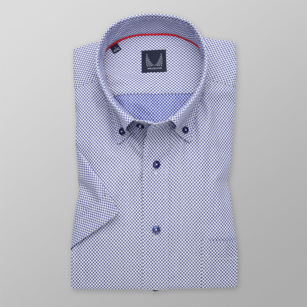 Men's classic shirt with blue-white polka dot pattern 11769