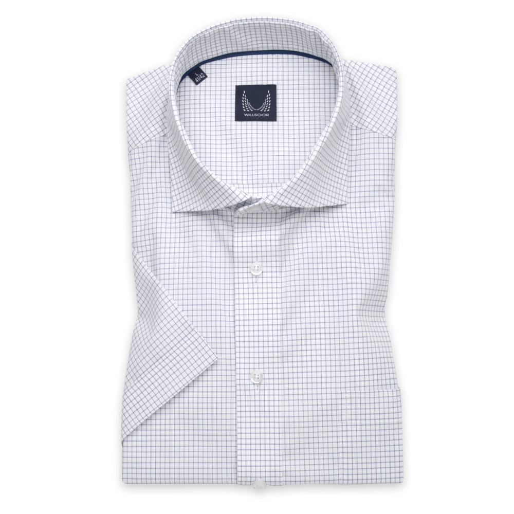 Men's Slim Fit shirt in white with dark blue pattern 11772