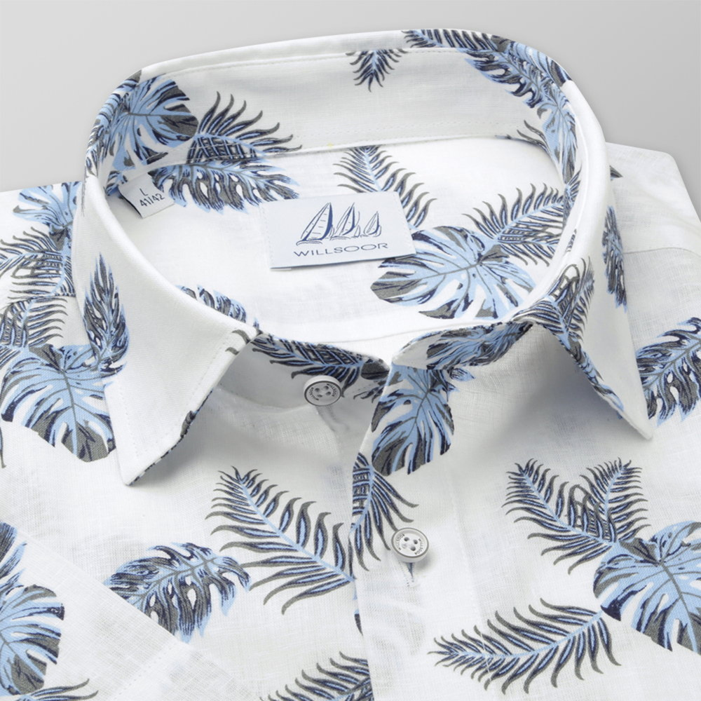 Men's Slim Fit shirt with leaves print 11776